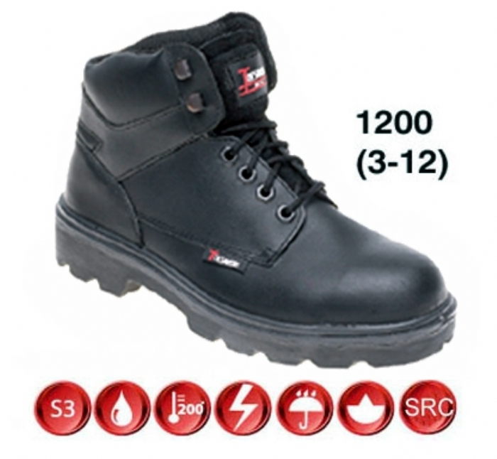 TOESAVERS Black Leather Safety Boot