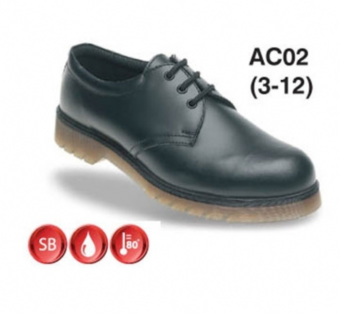 TOESAVERS Black Leather Safety Shoe