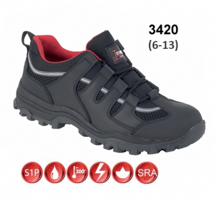 TOESAVERS Black Leather Safety Trainer with Steel Midsole
