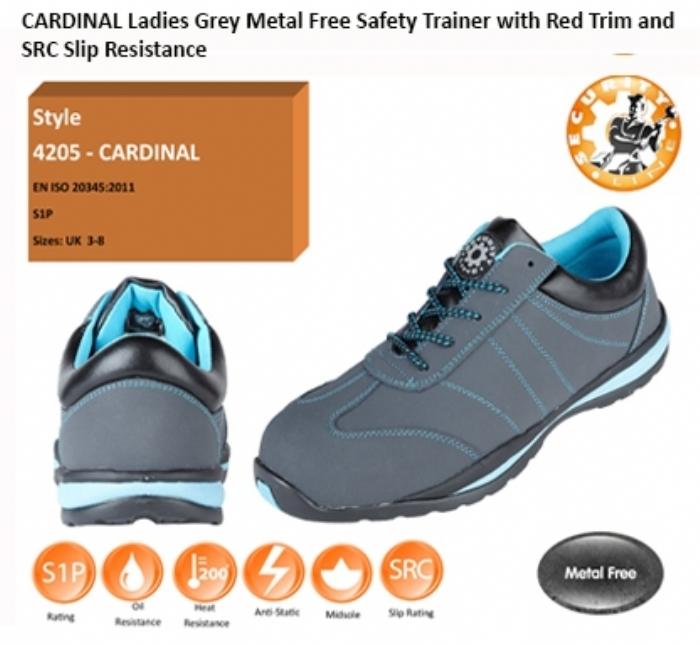 CARDINAL Ladies Grey Metal Free Safety Trainer