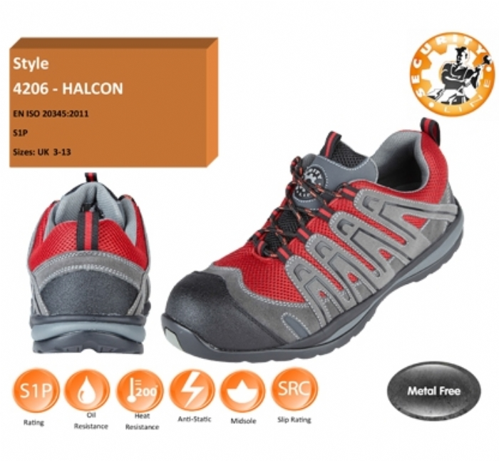HALCON Red/Grey METAL FREE Safety Trainer