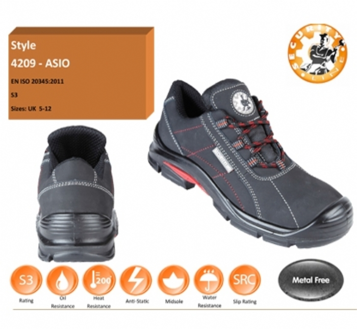 SECURITYLINE 4209  ASIO Black Metal Free Safety Shoe with Red Stich