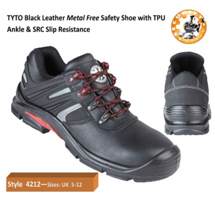SECURITYLINE TYTO Black Metal Free Safety Shoe with TPU Ankle