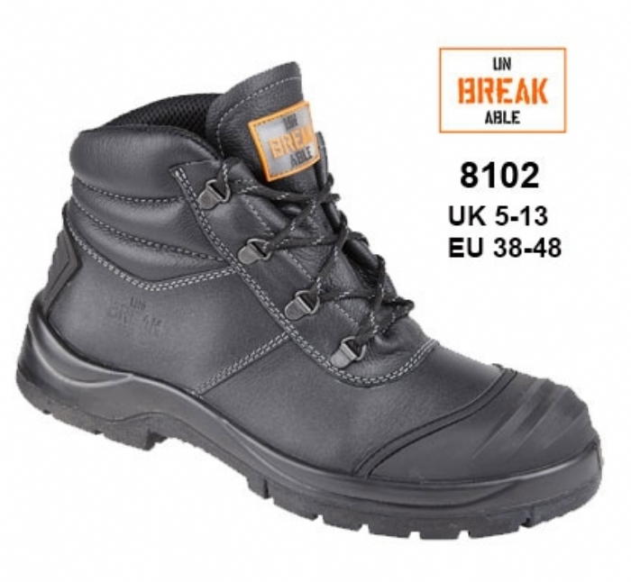 UNBREAKABLE Black Leather Renovator Safety Chukka Boot with Bump cap and Kick plate
