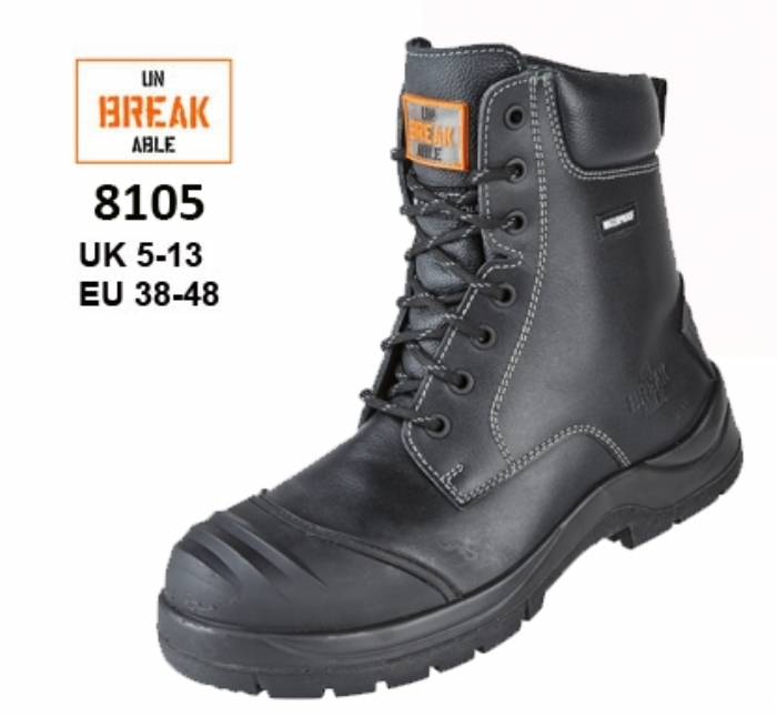 UNBREAKABLE Trench-Master Fully Waterproof Metal Free Combat Safety Boot with Rhino Ridge Bump Cap & Kickplate