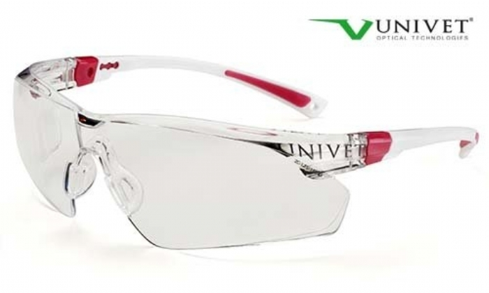 506up safety spec high spec coloured frame anti-mist anti scratch lens white / pink frame
