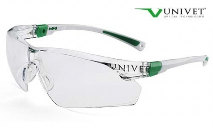 506up safety spec high spec coloured frame anti-mist anti scratch lens white / green frame