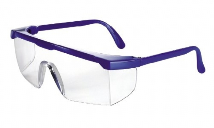 511 safety spec basic with anti-scratch clear lens blue frame small face fit and childrens sizes