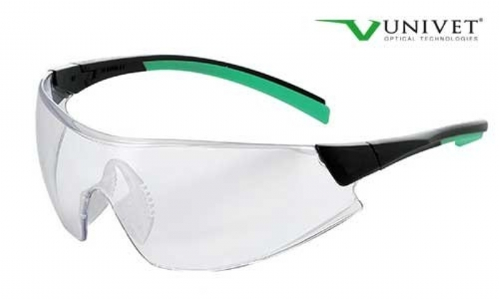 546 lightweight wrap style safety spec anti-scratch anti-mist clear lens black/green frame