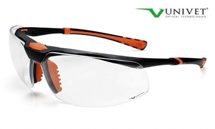 5X3 High tech safety spec U+DC anti-scratch and mist lens black/orange frame