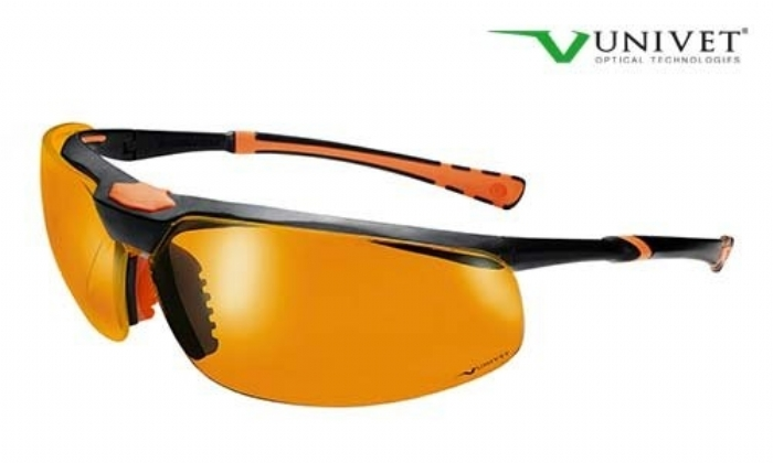 5X3 High tech safety spec U+DC anti-scratch and mist UV525 orange lens black/orange frame