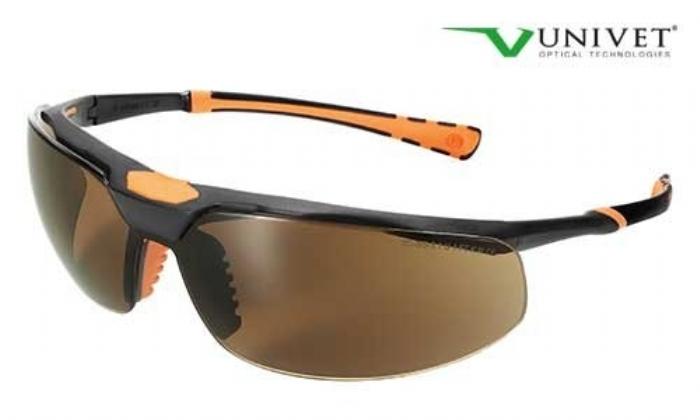 5X3 High tech safety spec U+DC anti-scratch and mist amber lens black/orange frame