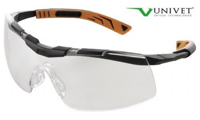 5X6 Sporty design safety spec clear anti-scratch lens black/orange frame