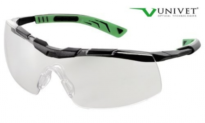 5X6 Sporty design safety spec clear anti-scratch anti-mist lens black/green frame