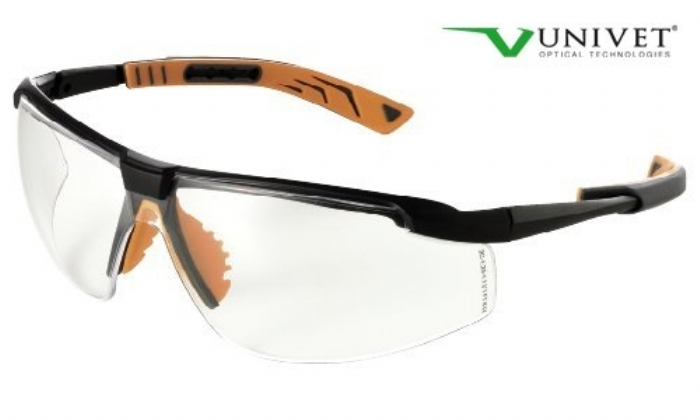5X8 effective safety spec with anti-scratch clear lens black/orange frame