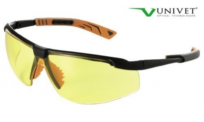 5X8 effective safety spec with anti-scratch anti mist yellow lens black/orange frame