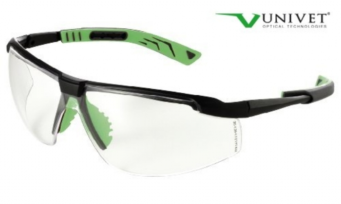 5X8 effective safety spec with anti-scratch anti mist clear lens gun metal/green frame