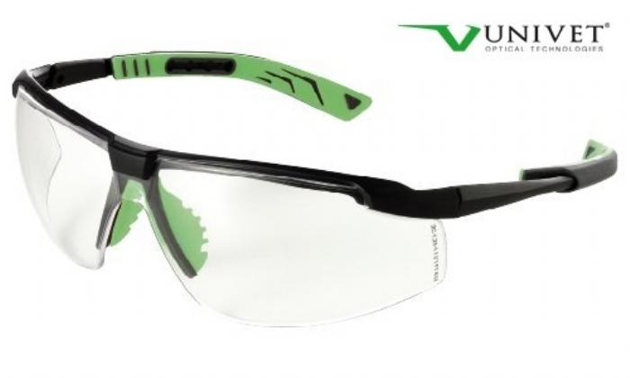 5X8 effective safety spec with anti-scratch anti mist clear lens gun metal/green frame