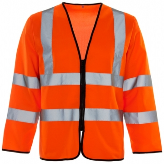 Hi Vis Long Sleeved Vest - ID Pocket - Zip