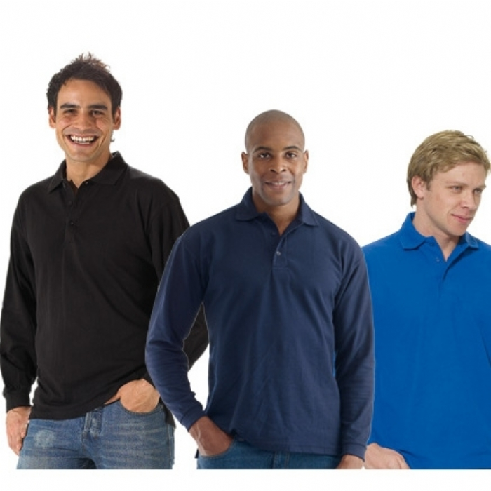 Endurance Long Sleeve Polycotton Polo Shirt Black