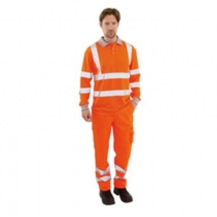 Keep Safe EN 471 High Visibility GO/RT Long Sleeve Polo Shirt