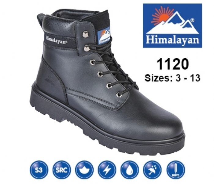 HIMALAYAN  Black Leather Safety Ankle Boot With Steel Midsole And Toecap