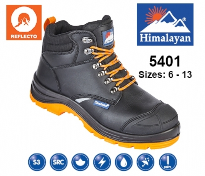 HIMALAYAN  Black Leather Upper Reflecto Safety Boot With Steel Midsole And Toecap