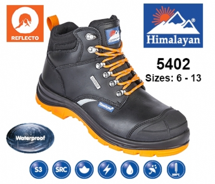 HIMALAYAN  Black Leather Upper Reflecto Waterproof Safety Boot With Steel Midsole And Toecap