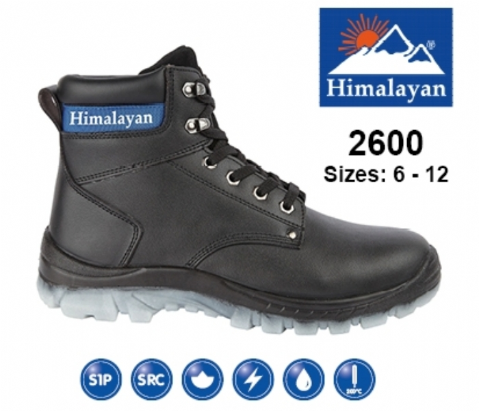 HIMALAYAN   Black Leather Upper Safety Ankle Boot with Steel Toe Cap and Midsole