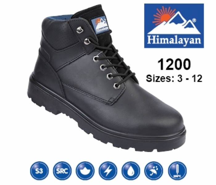 HIMALAYAN  Black Leather Safety Boot With Steel Midsole And Toecap