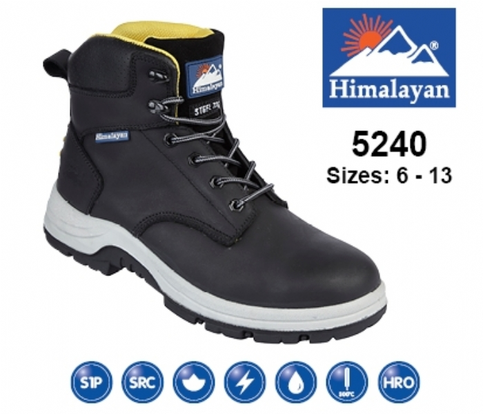 HIMALAYAN  Black Waxy Leather Upper Safety Ankle Boot With Steel Toecap and Midsole
