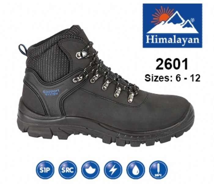HIMALAYAN  Black Leather Upper Safety Hiker With Steel Toecap And Midsole