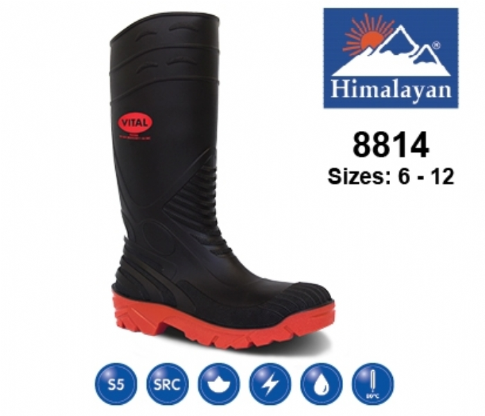 HIMALAYAN  Black PVC Safety Wellington with Midsole