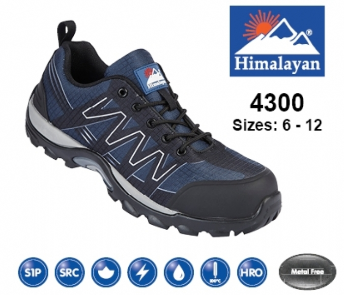 HIMALAYAN  Blue/Black Leather/Mesh Cross Trainer with Metal Free Toecap and Midsole