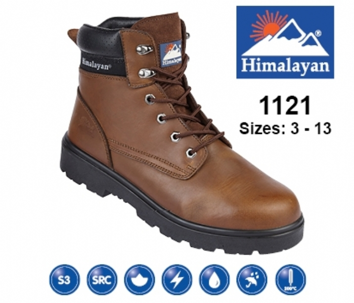 HIMALAYAN  Brown Leather Safety Ankle Boot With Steel Midsole And Toecap
