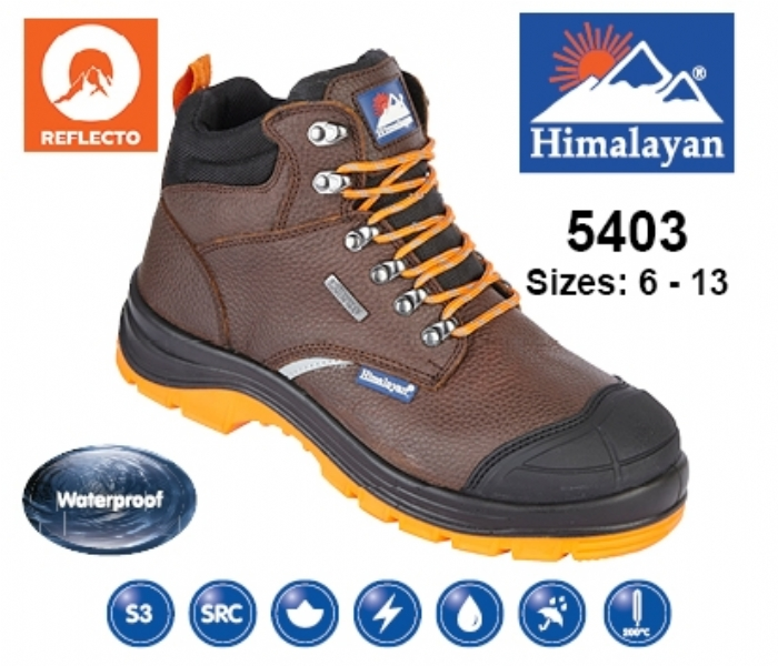 HIMALAYAN  Brown Leather Upper Reflecto Waterproof Safety Boot With Steel Midsole And Toecap