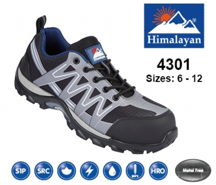 HIMALAYAN  Grey/Black Leather/Mesh Cross Trainer with Metal Free Toecap and Midsole