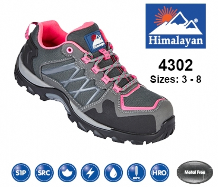 HIMALAYAN  Ladies Pink/Grey Leather/Mesh Cross Trainer with Metal Free Toecap and Midsole