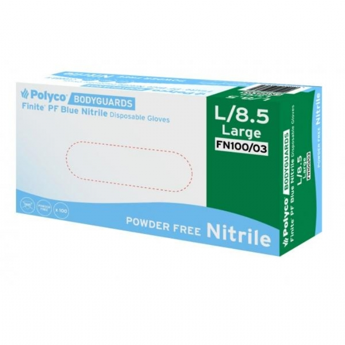 FN100 Finite Blue Powder Free Nitrile Gloves