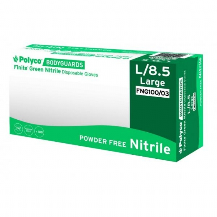 FNG100 Finite Green Powder Free Nitrile Gloves