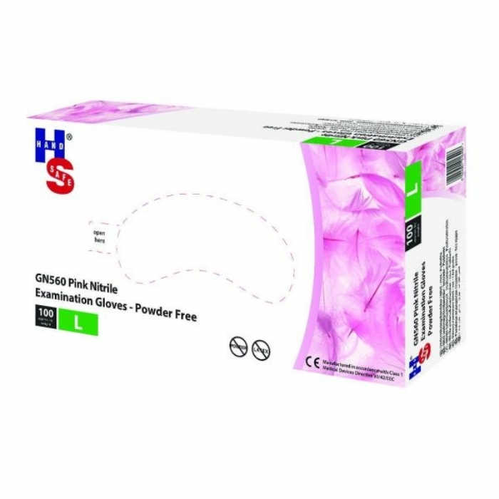 GN560 Pink Powder Free Nitrile Gloves