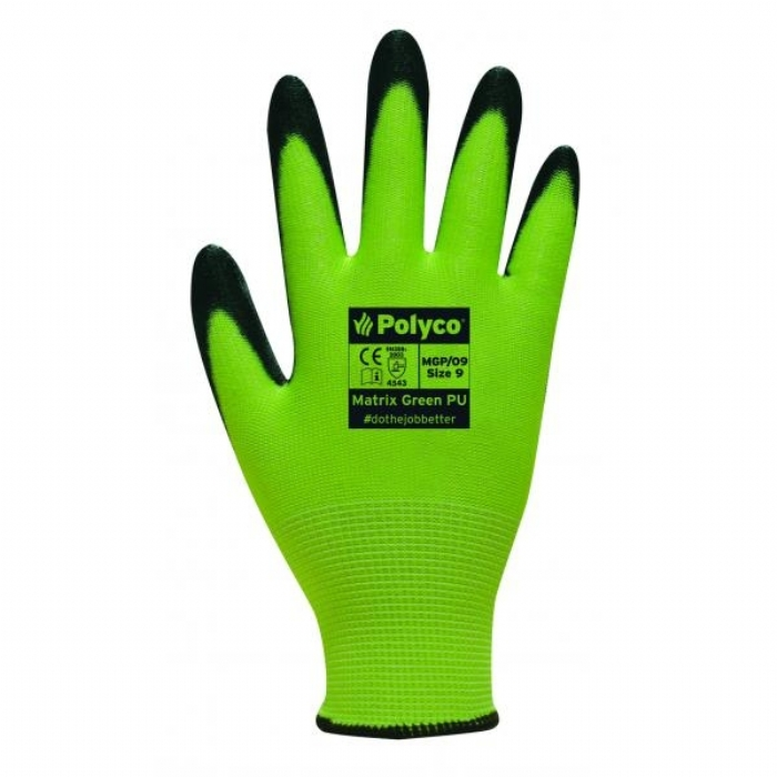 ASTMGP Matrix Green PU Reusable Gloves