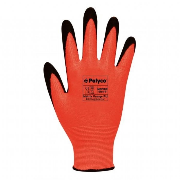 ASTMOP Matrix Orange PU Reusable Gloves