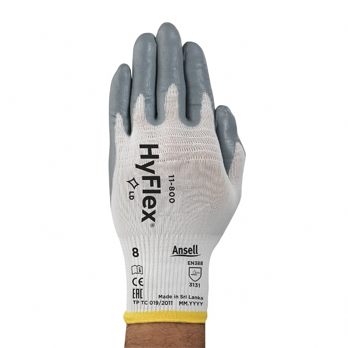 Ansell HyFlex 11-800 Palm Side Coated White/Grey Nitrile Gloves