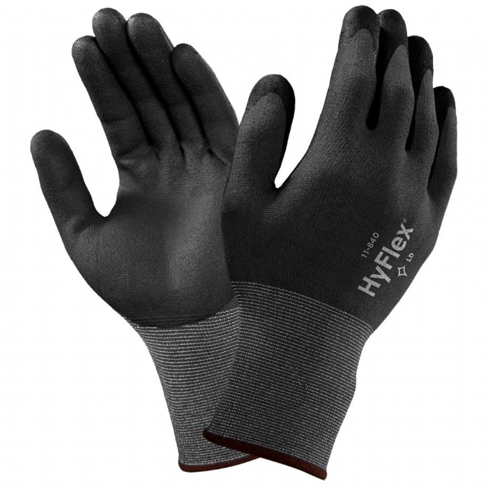 Ansell HyFlex 11-840 Fortix Palm-side Coated Black/Grey Gloves
