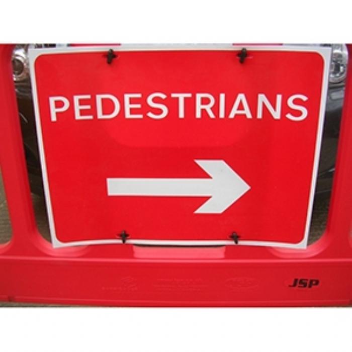 Pedestrians Right Barrier Sign