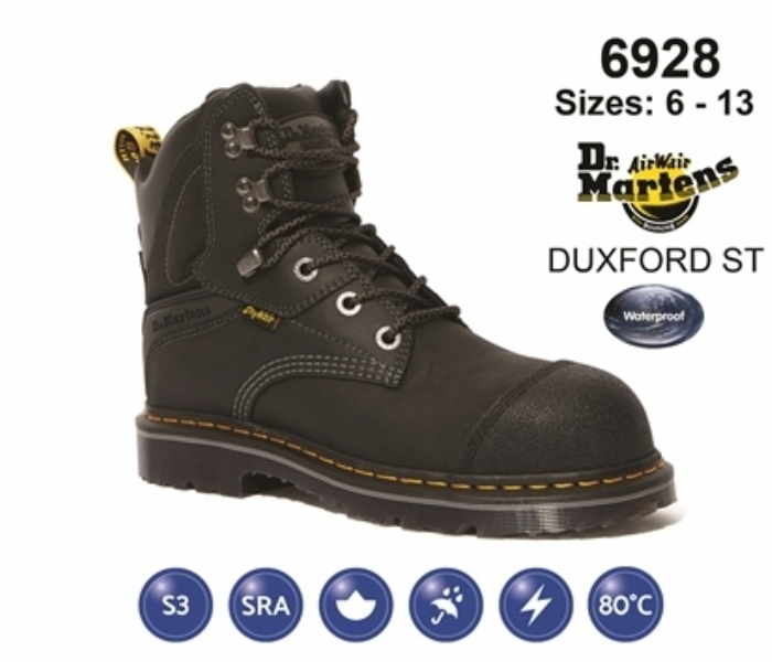 Dr Martens Duxford Black Leather Waterproof Safety Boot