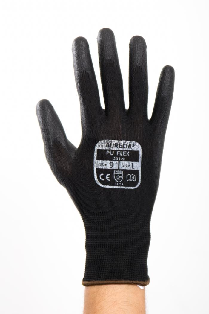Aurelia PU Flex Black - Black PU Palm Coated with Polyester Liner Glove