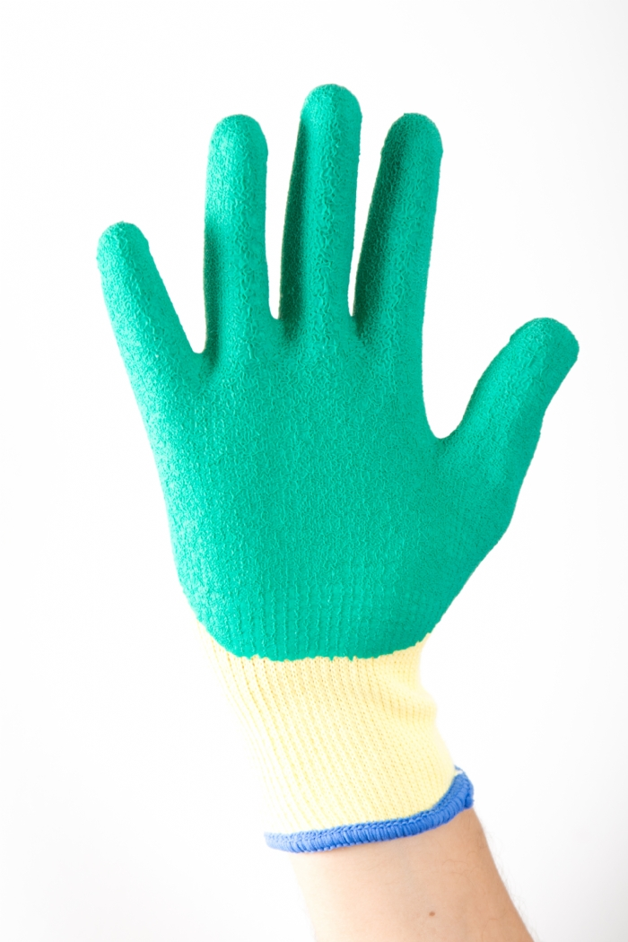 Aurelia Latex Grip Green - Green Crinkled Latex Palm Coated with Poly Cotton Liner Glove