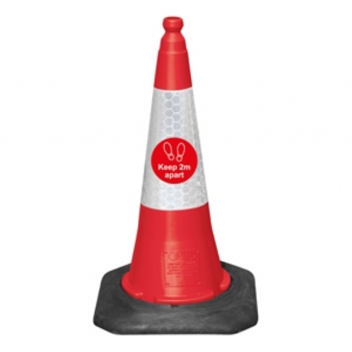 75cm Dominator Traffic Cone - Keep 2m Apart – Red